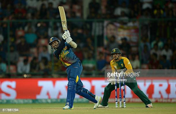 Tillakaratne Dilshan of Sri Lanka hits out for six runs during the ICC World Twenty20 India 2016 Group 1 match between South Africa and Sri Lanka at...