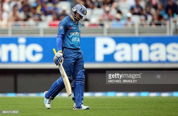 Tillakaratne Dilshan of Sri Lanka leaves the field after he was dismissed during the second T20 cricket match between New Zealand and Sri Lanka at...