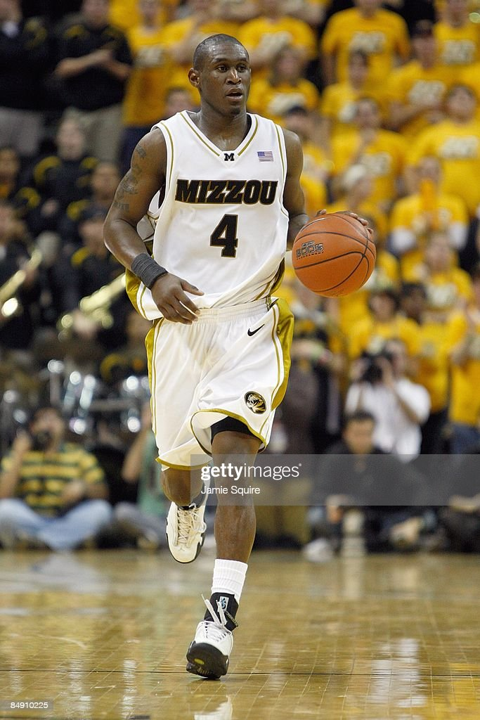 T Tiller of the Missouri Tigers dribbles the ball downcourt against the Kansas Jayhawks during the game on February 9 2009 at Mizzou Arena in...
