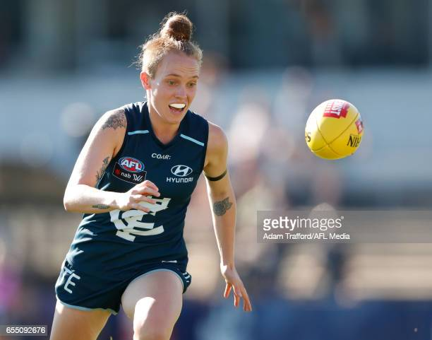 Tilly LucasRodd of the Blues in action during the 2017 AFLW Round 07 match between the Carlton Blues and the Brisbane Lions at Ikon Park on March 19...