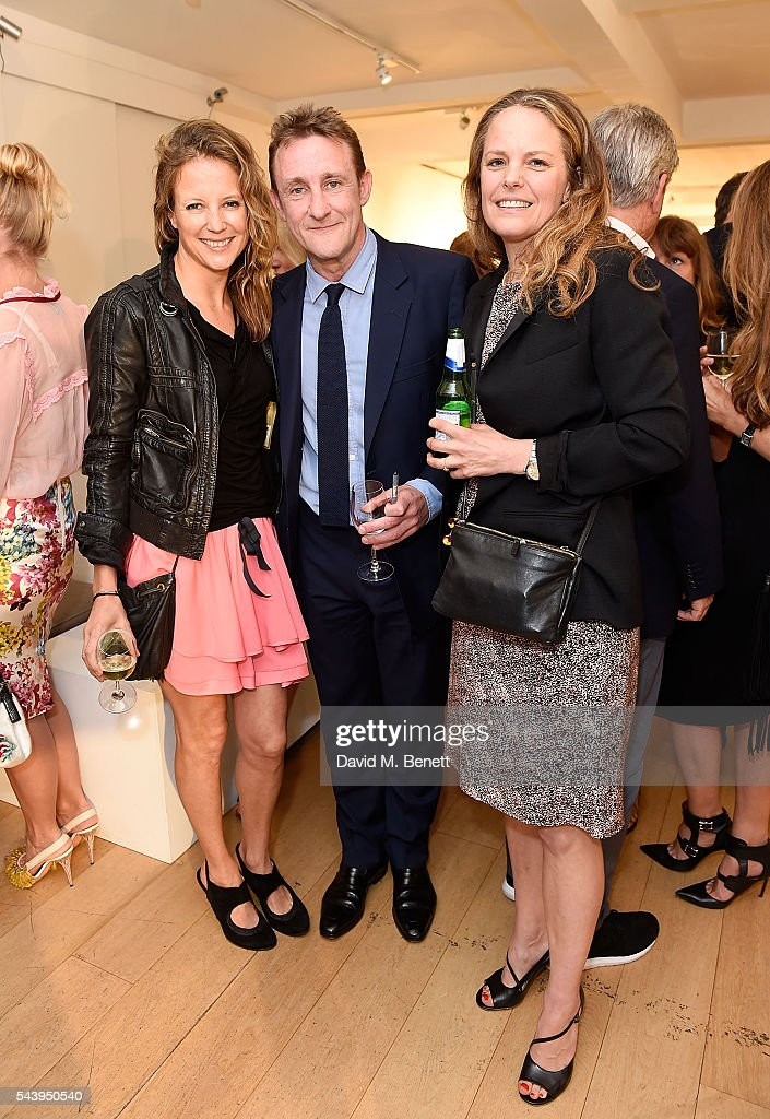 Tilly Wood, Jolyon Fenwick and Candy Plews attend the exhibition launch party of 'The Zero Hour Panoramas' by Jolyon Fenwick. The exhibition consists of 14 photographic panoramas showcasing, '100 Years on: Views From The Parapet of the Somme', at Sladmore Contemporary on June 30, 2016 in London, England.