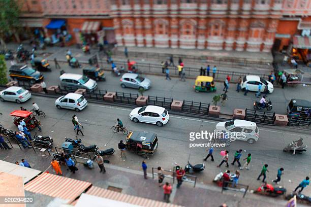 Tilt shift shot of busy street in Jaipur, India