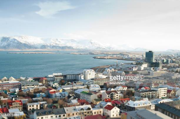 tilt shift view of downtown Rekyavik Iceland and Mount Esja