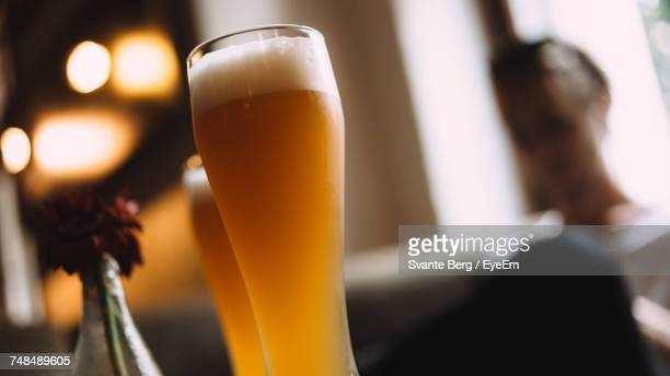 Tilt Shot Of Beer Glass At Restaurant
