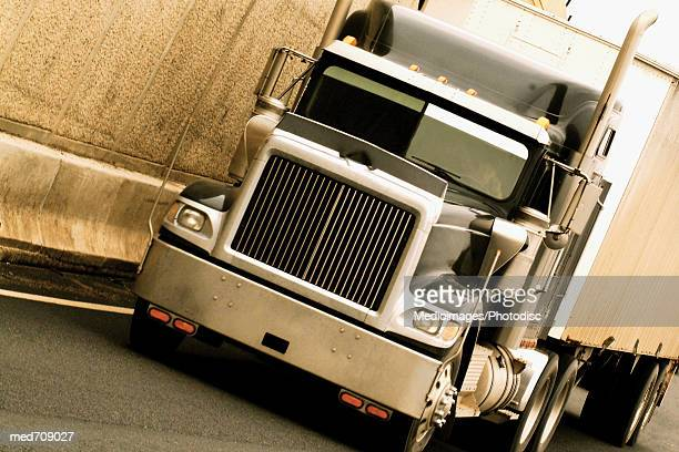 Tilted image of a semi-truck