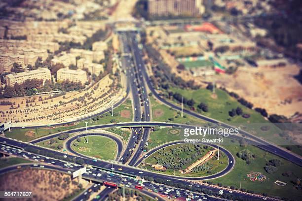 Tilt-shift image of highway in city, Tehran, Iran