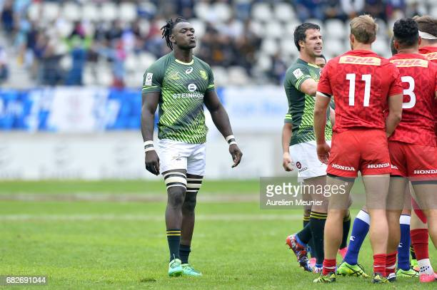 Tim Agaba of South Africa reacts during the HSBC rugby sevens match between South Africa and Canada on May 13 2017 in Paris France