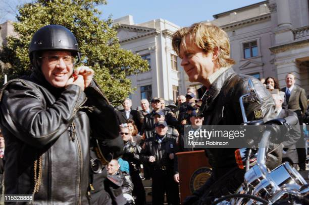 Tim Allen and William H Macy during 'Wild Hogs' Atlanta Press Conference at Georgia State Capitol in Atlanta Georgia United States