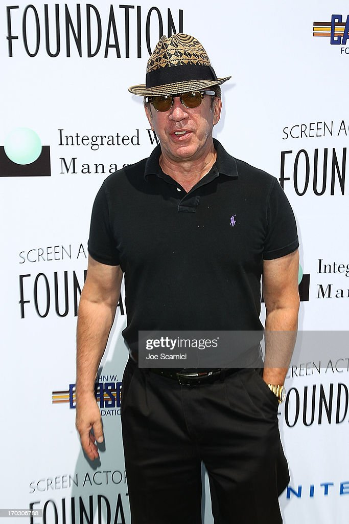 <a gi-track='captionPersonalityLinkClicked' href=/galleries/search?phrase=Tim+Allen&family=editorial&specificpeople=206248 ng-click='$event.stopPropagation()'>Tim Allen</a> arrives to the Screen Actors Guild Foundation's 4th annual Los Angeles golf classic at Lakeside Golf Club on June 10, 2013 in Burbank, California.
