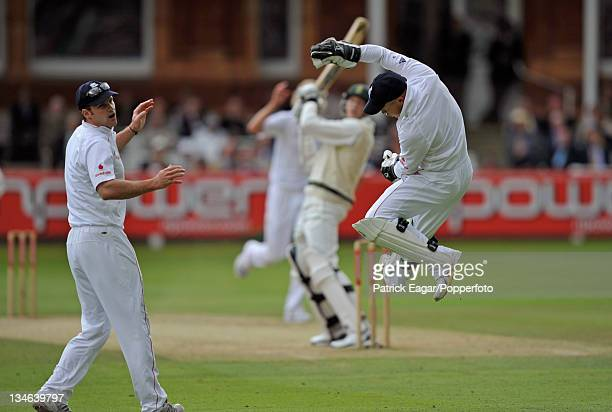 Tim Ambrose leaps but fails to stop an edge from Morne Morkel which went for four England v South Africa 1st Test Lord's Jul 08