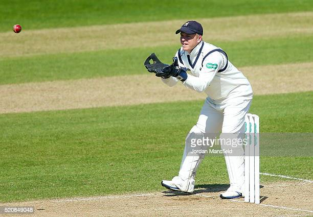 Tim Ambrose of Warwickshire catches during day four of the Specsavers County Championship Division One match between Hampshire and Warwickshire at...