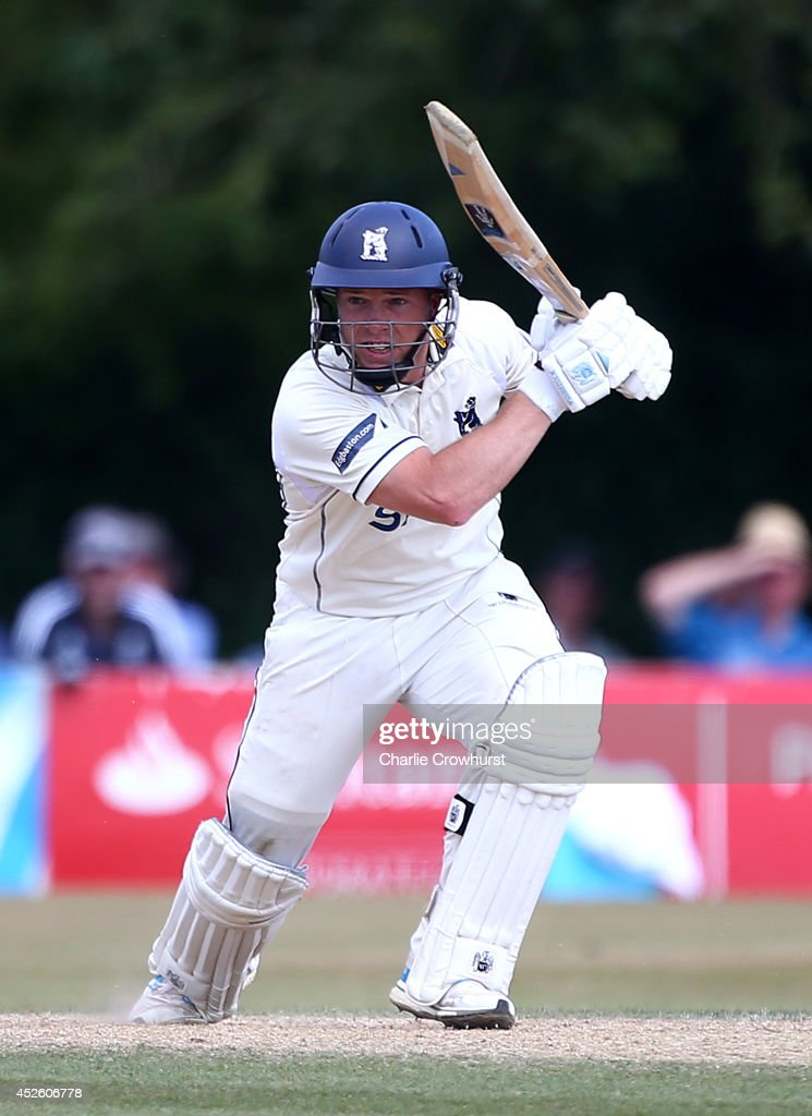 Tim Ambrose of Warwickshire hits out during day four of the LV County Championship match between Sussex and Warwickshire at Horsham Cricket Club on...