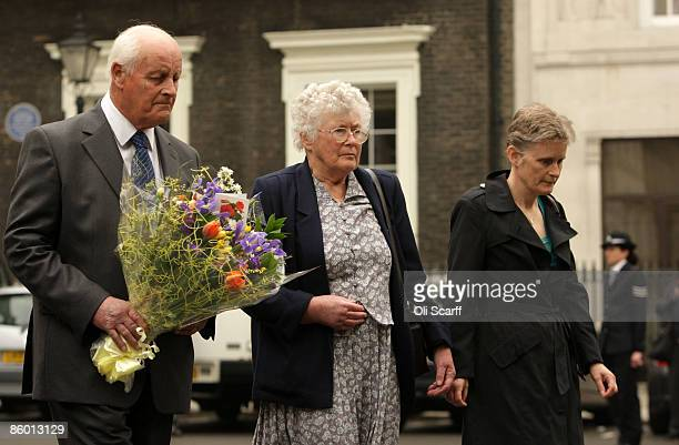 Tim and Queenie Fletcher the parents of Yvonne Fletcher and her sister Heather Allbrook lay flowers at a ceremony to mark the 25th anniversary of the...