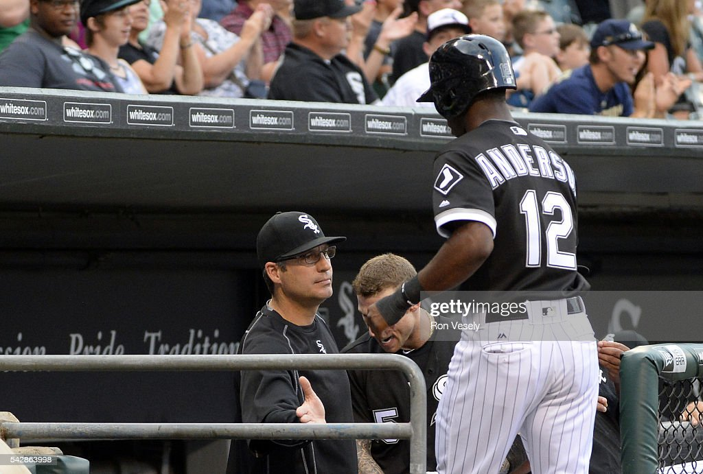 Tim Anderson is greeted by manager Robin Ventura of the Chicago White Sox after Anderson scored against the Detroit Tigers on June 14 2016 at US...