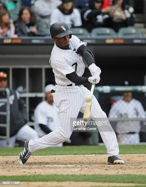 Tim Anderson of the Chicago White Sox bats against the Detroit Tigers during the opening day game at Guaranteed Rate Field on April 4 2017 in Chicago...