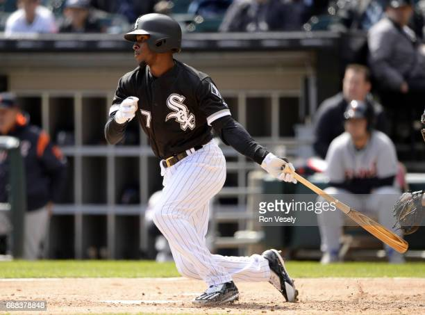 Tim Anderson of the Chicago White Sox bats against the Detroit Tigers on April 6 2017 at Guaranteed Rate Field in Chicago Illinois The White Sox...