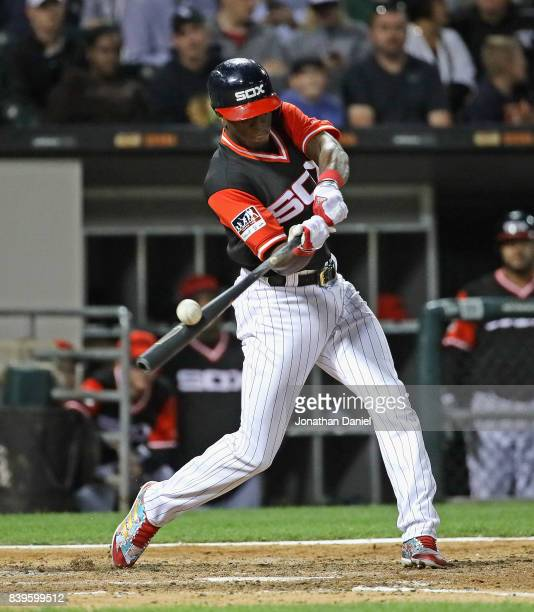 Tim Anderson of the Chicago White Sox bats against the Detroit Tigers at Guaranteed Rate Field on August 25 2017 in Chicago Illinois The White Sox...