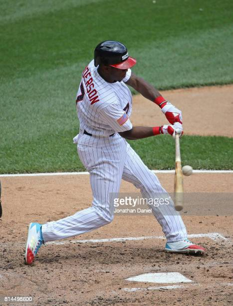 Tim Anderson of the Chicago White Sox bats against the Texas Rangers at Guaranteed Rate Field on July 1 2017 in Chicago Illinois The Rangers defeated...