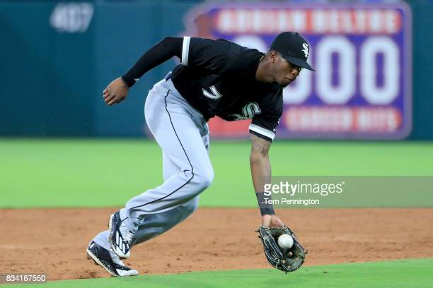 Tim Anderson of the Chicago White Sox fields a ground ball against the Texas Rangers in the bottom of the third inning at Globe Life Park in...