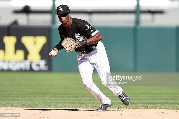 Tim Anderson of the Chicago White Sox fields a ground ball during the seventh inning of a game against the Cleveland Indians at US Cellular Field on...