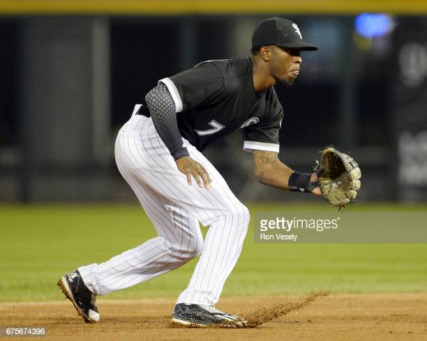 Tim Anderson of the Chicago White Sox fields against the Kansas City Royals on April 25 2017 at Guaranteed Rate Field in Chicago Illinois The White...