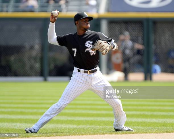 Tim Anderson of the Chicago White Sox fields against the Kansas City Royals on April 26 2017 at Guaranteed Rate Field in Chicago Illinois The White...