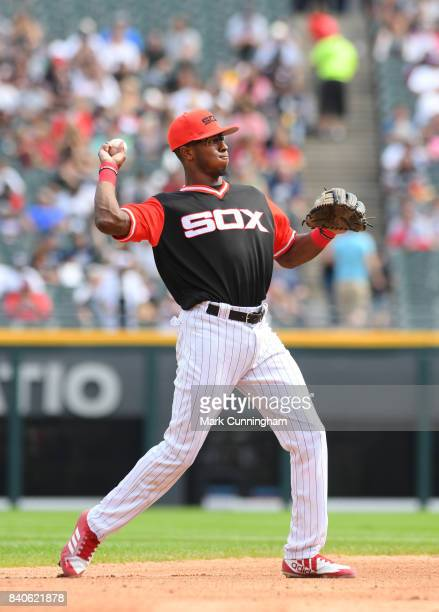 Tim Anderson of the Chicago White Sox fields while wearing a special uniform and hat to celebrate Players Weekend during the game against the Detroit...