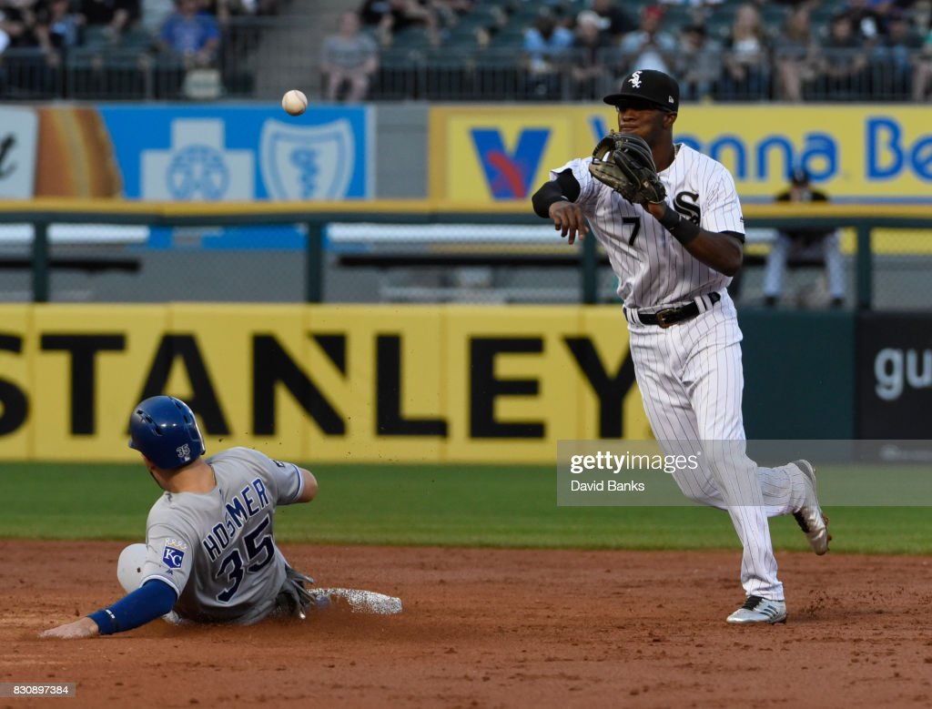 Tim Anderson #7 of the Chicago White Sox forces out Eric Hosmer #35 of the Kansas City Royals at second base during the third inning on August 12, 2017 at Guaranteed Rate Field in Chicago, Illinois.