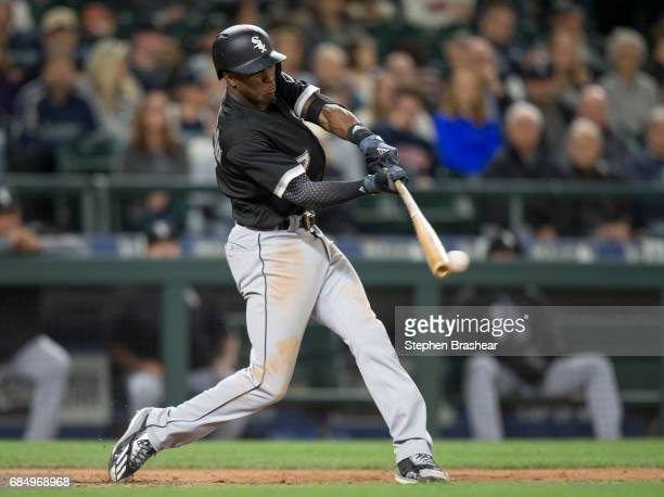 Tim Anderson of the Chicago White Sox hits a double off of relief pitcher Casey Lawrence of the Seattle Mariners during the seventh inning of a game...
