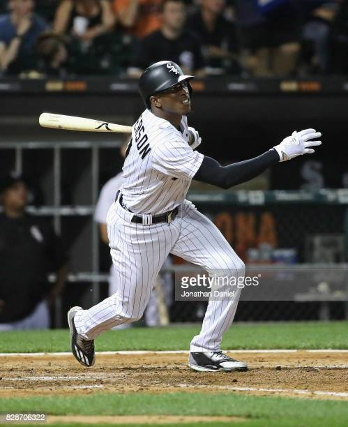 Tim Anderson of the Chicago White Sox hits a run scoring single in the 5th inning against the Houston Astros at Guaranteed Rate Field on August 9...