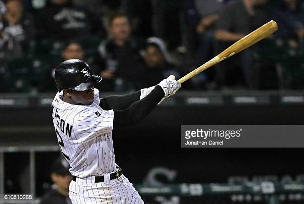 Tim Anderson of the Chicago White Sox hits a solo home run in the 8th inning against the Tampa Bay Rays at US Cellular Field on September 27 2016 in...