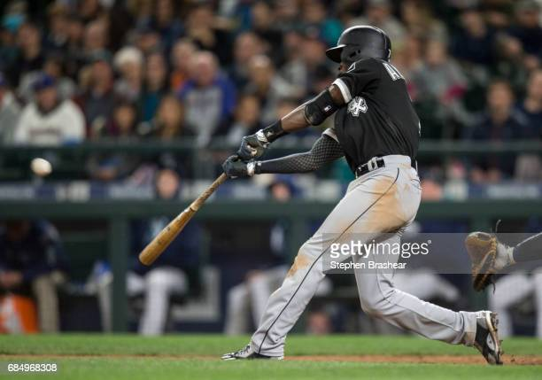 Tim Anderson of the Chicago White Sox hits a solo home run off of relief pitcher Dan Altavilla of the Seattle Mariners during the eighth inning of a...