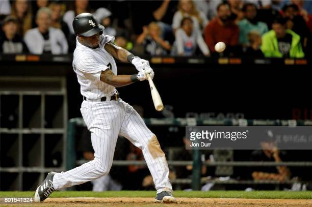 Tim Anderson of the Chicago White Sox hits a three run home run against the New York Yankees during the ninth inning at Guaranteed Rate Field on June...
