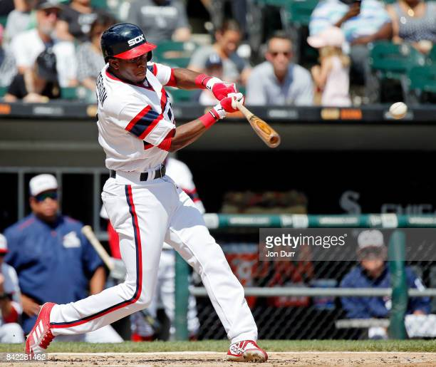 Tim Anderson of the Chicago White Sox hits an RBI single against the Tampa Bay Rays during the third inning at Guaranteed Rate Field on September 3...
