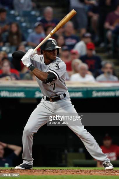 Tim Anderson of the Chicago White Sox in action against the Cleveland Indians at Progressive Field on June 9 2017 in Cleveland Ohio