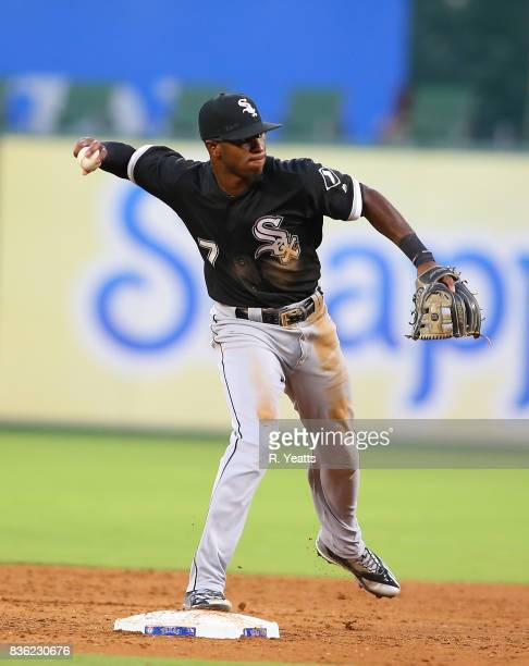 Tim Anderson of the Chicago White Sox in action in the second inning against the Texas Rangers at Globe Life Park in Arlington on August 19 2017 in...
