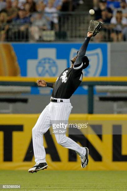 Tim Anderson of the Chicago White Sox makes a catch for an out on a ball hit by Ian Happ of the Chicago Cubs during the fifth inning at Guaranteed...