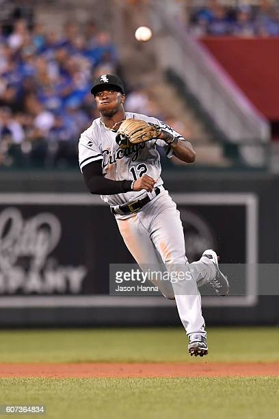 Tim Anderson of the Chicago White Sox makes a jumping throw after charging a weekly hit ground ball against the Kansas City Royals during the sixth...