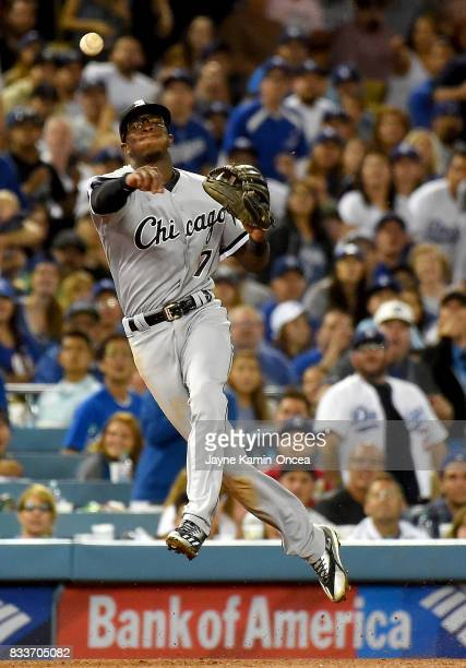 Tim Anderson of the Chicago White Sox makes a play in the game against the Los Angeles Dodgers at Dodger Stadium on August 15 2017 in Los Angeles...