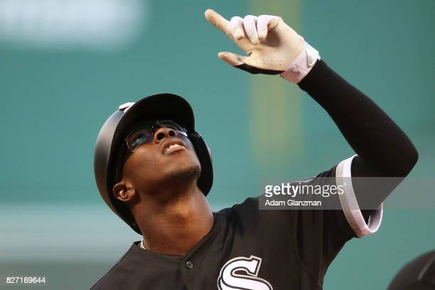 Tim Anderson of the Chicago White Sox reacts as he crosses home plate after hitting a solo home run in the first inning of a game against the Boston...