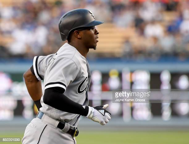 Tim Anderson of the Chicago White Sox rounds the bases after a solo home run in the first inning of the game against the Los Angeles Dodgers at...