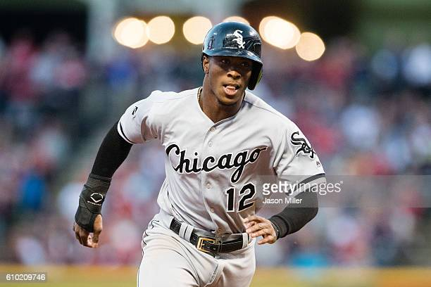 Tim Anderson of the Chicago White Sox rounds third on his way to score off a double by Melky Cabrera during the first inning against the Cleveland...
