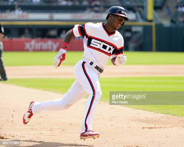 Tim Anderson of the Chicago White Sox runs the bases against the Tampa Bay Rays on September 3 2017 at Guaranteed Rate Field in Chicago Illinois