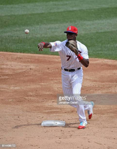 Tim Anderson of the Chicago White Sox throws out a runner against the Texas Rangers at Guaranteed Rate Field on July 1 2017 in Chicago Illinois The...