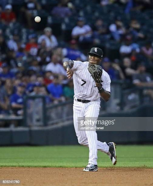 Tim Anderson of the Chicago White Sox throws out a Toronto Blue Jays runner at Guaranteed Rate Field on July 31 2017 in Chicago Illinois The White...