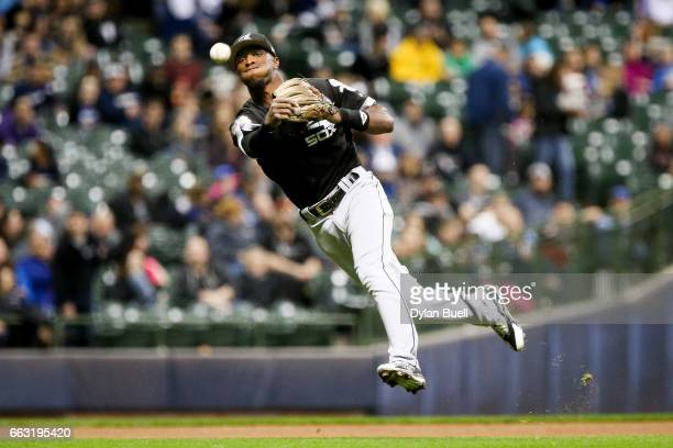 Tim Anderson of the Chicago White Sox throws to first base in the in the fifth inning against the Milwaukee Brewers during an exhibition game at...