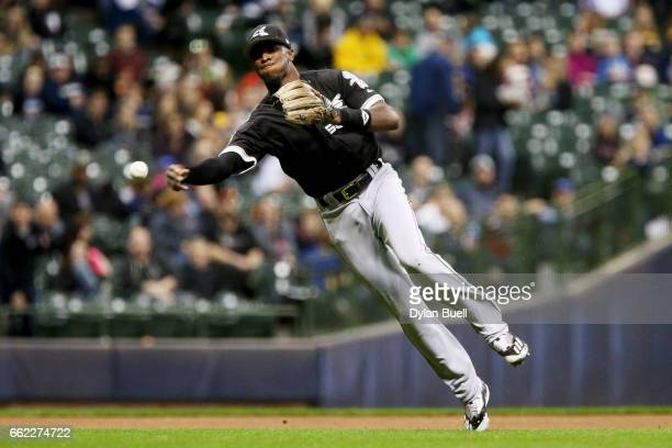 Tim Anderson of the Chicago White Sox throws to first base in the fifth inning against the Milwaukee Brewers during an exhibition game at Miller Park...