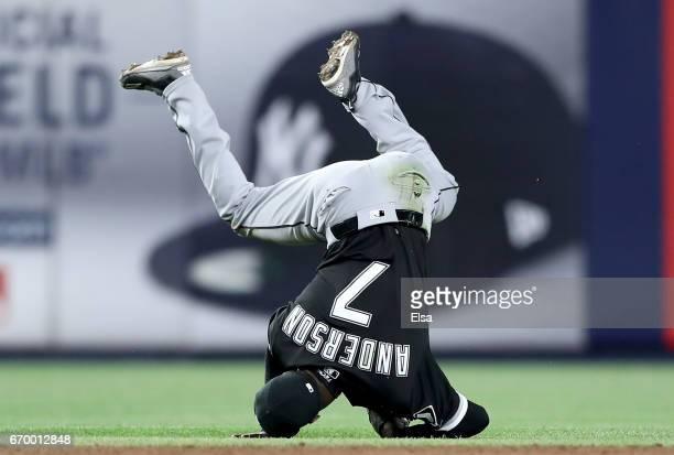 Tim Anderson of the Chicago White Sox tumbles after he fields a hit by Chase Headley of the New York Yankees in the ninth inning on April 18 2017 at...