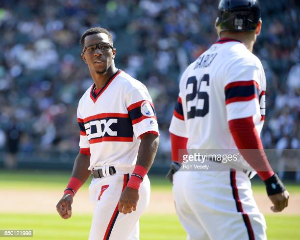Tim Anderson reacts after Avisail Garcia of the Chicago White Sox runs past Anderson during the game against the Tampa Bay Rays on September 3 2017...