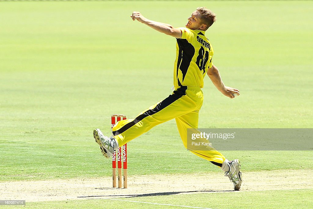 Tim Armstrong of the Warriors bowls during the Ryobi One Day Cup match between the Western Australia Warriors and the Tasmanian Tigers at the WACA on February 19, 2013 in Perth, Australia.